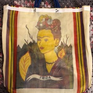 Handbags - Yellow Frida Kahlo mesh tote